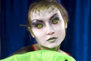 woman with Halloween makeup on, costume contacts safety, contact lens safety
